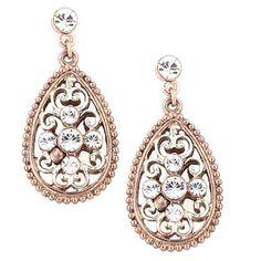 1928 Jewelry Rose GoldTone Filigree Drop Wire Earrings Girls