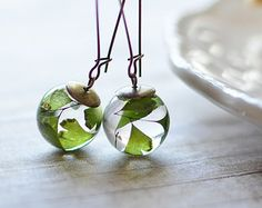 Fern earrings - resin sphere, maidenhair fern jewelry, pressed leaf, nature jewelry, eco resin jewelry, gift for a woman, gift under 40