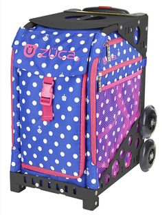 POLKA BOTS ZUCA BAG Count the dots. Find the bots. This bright blue and white insert with playful pink accents connects you to the future for fun.