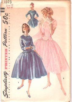 Simplicity 1373 1950s Misses Bouffant Dress Pattern Princess Seams Soped Waist Scallops womens vintage sewing pattern  by mbchills