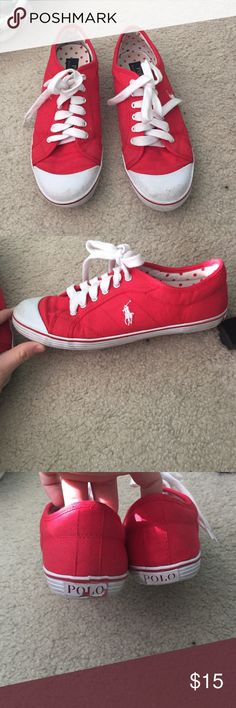 Polo Ralph Lauren Marin Red Canvas Sneakers They are a dirty in a few spaces, but easily cleanable, and the back polo tag is coming undone a little bit, but they are really comfortable and cute! Price is negotiable Polo by Ralph Lauren Shoes Sneakers