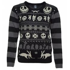 Women's Knitted Nightmare Before Christmas Jumper ($68) ❤ liked on Polyvore featuring tops, sweaters, christmas jumpers, christmas sweaters and xmas sweaters