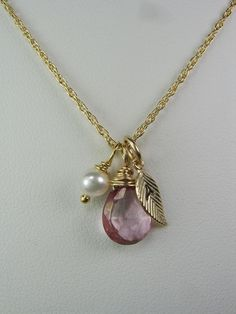Gold Initial Necklace Gold Leaf Gemstone Pearl by MesmericJewelry. $35.00, via Etsy.