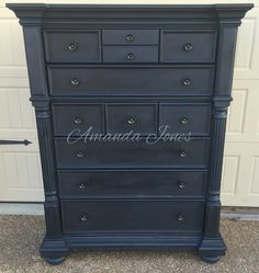 50/50 mix of Napoleonic Blue and Graphite Chalk Paint™ with black wax