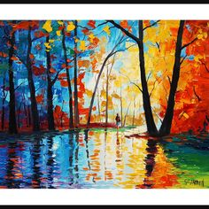 Oriiginal oil painting Palette Knife Trees by GerckenGallery