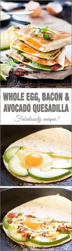 Healthy Fit Whole Egg, Bacon and Avocado Breakfast Quesadillas - breakfast just got a whole lot more interesting! Love cutting into the quesadilla and discovering the whole egg inside! - Breakfast quesadillas just got a whole lot more interesting! Breakfast Dishes, Breakfast Time, Healthy Breakfast Recipes, Brunch Recipes, Healthy Eating, Healthy Recipes, Healthy Breakfasts, Easy Recipes, Clean Eating