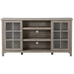 """Features:  -Fits TVs up to 65"""" in width.  -Open center compartment with adjustable shelf, provides ample room for your media components.  -Enclosed side compartments with 3 adjustable shelves.  -Frame"""