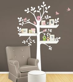 Shelving Tree with Birds Decal - Simple Shapes Wall Decals, Furniture, and Accessories