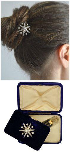 Edwardian 14kt/Plat. Diamond Starburst Pin/Pendant & Hair Comb 2.00ctw