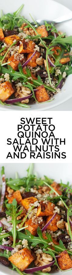Sweet Potato Quinoa Salad with Walnuts and Raisins #HealthyEating #CleanEating #Salads