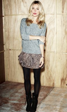 loose comfy sweater, short comfy skirt, tights, and boots