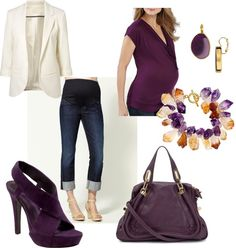 """Casual Maternity Eggplant"" by pregnantchicken on Polyvore"