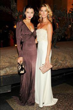 Lily Kwong, in Roberto Cavalli, with Lauren Remington Platt.