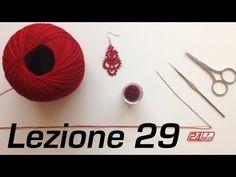 ▶ Chiacchierino Ad Ago - 29˚ Lezione Orecchino Con Perline Bijoux Tutorial Needle Tatting Knot Count - YouTube