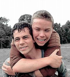 dylan o'brien and will poulter in the bts of the maze runner movie   gif