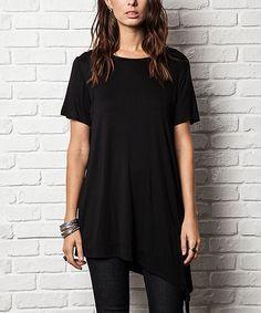 Elegant Apparel Black Asymmetric-Hem Tunic