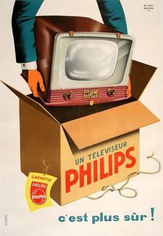 Vintage Ads : Philips TV Vintage Advertising Campaign Philips TV Advertisement Description Philips TV Sharing is love ! Posters Vintage, Vintage Advertising Posters, Old Advertisements, Vintage Prints, Advertising Campaign, Retro Vintage, Retro Ads, Vintage Labels, Vintage Images