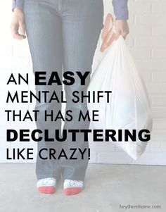 Change the way you think about why you're keeping. An easy mental shift that has me decluttering like crazy! Clutter Control, Declutter Your Life, Clutter Organization, Organization Ideas, D House, Tiny House Living, Living Room, Easy Home Decor, Home Decor Bedroom