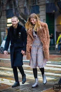 Milan Fashion Week FW 2016 Street Style: Justin OShea and Veronika Heilbrunner