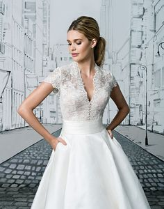 The options are endless with this two piece set. The short sleeved V-neck bodice tucks perfectly into the Silk tea length ball gown skirt. A Mikado skirt version is also available as style Full length skirt options are available in Silk as or Mikado as Short Lace Wedding Dress, Sweetheart Wedding Dress, Tea Length Wedding Dress, Tea Length Dresses, New Wedding Dresses, Designer Wedding Dresses, Bride Dresses, Dressy Dresses, Short Bride