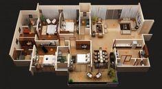 Haciendo uso de una amplia sala de estar, este diseño de cuatro dormitorios, también de Privie Mundial, se vuelve una sala de estar en dos por metiendo un corte en una esquina y la creación de un ambiente acogedor, rincón de conversación de inspiración asiática en el otro.