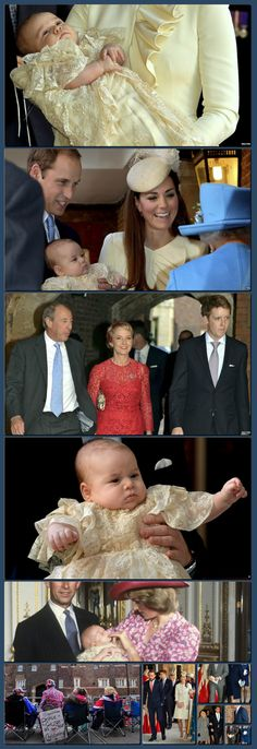 The Duke and Duchess of Cambridge's son, Prince George, is christened in a private ceremony at St James's Palace in London. Duke And Duchess, Duchess Of Cambridge, St James's Palace, New Britain, Collage Making, Bbc News, Christening, Prince, Pictures