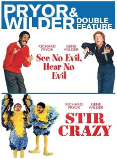 "Two great #comedy #films starring two incredible #comedians! #Gene #Wilder and #Richard #Pryor team up in these two hilarious #classics: ""See No Evil, Hear No Evil"" and ""Stir Crazy."" #SeeNoEvilHearNoEvil #StirCrazy #GeneWilder #RichardPryor #DVD #Movie #Comic"