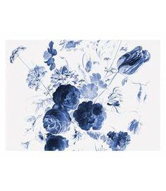 KEK Amsterdam Behang Royal Blue Flowers I multicolor vliespapier Blue Flower Wallpaper, Bird Wallpaper, Original Wallpaper, Photo Wallpaper, Blue Flower Photos, Royal Blue Flowers, Mural Floral, Flower Mural, Amsterdam