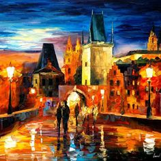 """Night in Prague — PALETTE KNIFE Oil Painting On Canvas By Leonid Afremov - Size: 30"""" x 24"""" (75cm x 60cm)"""