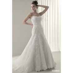Organza Spaghetti Shoulder Straps with Slight Mermaid Skirt with Chapel Train and Zipper plus Buttons Closuer New Hot Sell Wholesale Bridal Wedding Dress WD104