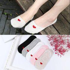 24d2ac244da New Summer Heart Socks Women s Short Invisible Socks Peach Heart Print  Simpleintotham