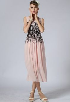 Pink Sleeveless Leopard Print Chiffon Dress pictures