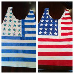 DIY flag shirt with ductape stars