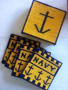 Set of 4 Navy Military Coasters by stitchesoflight on Etsy, $10.00