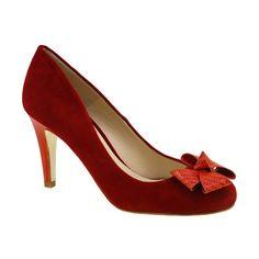 Zapato 27953 en ante rojo y tejus rojo