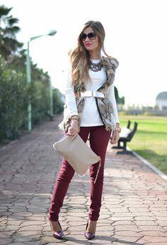 Color denim and faux fur vest