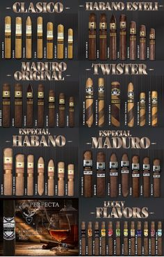 Try them all Lucky Cigar Clasico Habano Esteli Twister Liga Rum Flavor Maduro Cigars And Whiskey, Good Cigars, Pipes And Cigars, Cuban Cigars, Humidors For Sale, Buy Cigars Online, Tobacco Shop, Cigar Store, Cigar Art