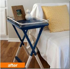 """TV Tray turned side table, see the how-to, """" Live the Home Life"""""""