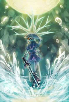 Dark Link in the Water Temple Legend Of Zelda Characters, Iconic Characters, First Video Game, Video Game Art, Fairy Names, Water Temple, Twilight Princess, Breath Of The Wild, Manga Games