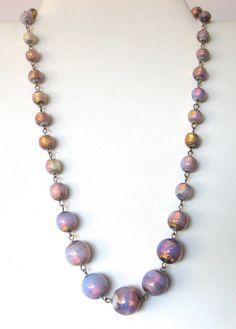 Art-Deco Venetian Opalescent Foil Necklace by BelforAntiques