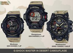 What you're looking at above is a set of three new G-Shocks Desert Camouflage Series; The Mudman GW-9300DC-1, Rangeman GW-9400DCJ-1, and Mudmaster GWG-1000DC-1A5.