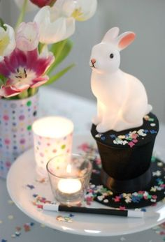 Woodland Rabbit Night Light. Magic party with wand, top hat and confetti centerpieces.