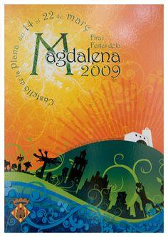 2009 - Cartel Fiestas de la Magdalena de Castellón de la Plana Movies, Movie Posters, Vintage, Party, Blue Dishes, Silver Roses, Black Animals, Films, Film Poster