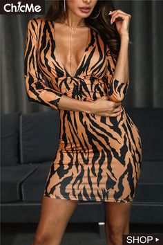 5dc6aea3329 Zebra Print V-Neck Ruched Bodycon Dress Animal Print Outfits