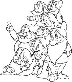 Snow White and The Seven Dwarfs is a Disney movie. It's the first full length Disney movie ever made, and the first full length t. Snow White Coloring Pages, Cool Coloring Pages, Cartoon Coloring Pages, Disney Coloring Pages, Coloring Books, Art Drawings Sketches, Disney Drawings, Cute Drawings, Disney Art