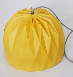 Large Origami Lamp Yellow Hanging Lampshade by TweelingenHomeDecor