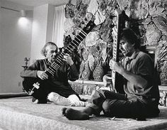 "Ravi Shankar and George Harrison, c. 1987. Photo © Brian Roylance. "" ""By having him as a friend, I could experience the best of India…. He's always been like a guru and father figure, but at the same..."