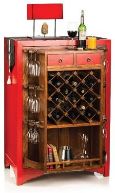 Winebar Envy! Swank Oriental Style Home Wine Cabinet with amazing revolving chassis—Drinking may no longer be the best part!