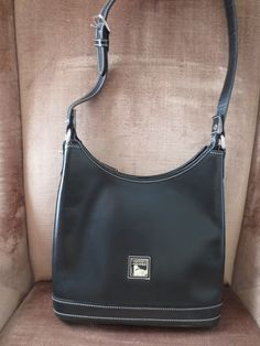 DOONEY BOURKE Handbag Shoulder SMOOTH Black Leather Footed Rare Stiff Style #DooneyBourke #ShoulderBag