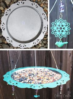 Upcycled bird feeder from a silver tray.